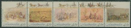 AUS SG1254a Colonial Development (2nd issue), Gold Fever strip of 5